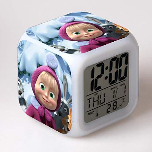 zhmku Wecker Schlafzimmer Wohnzimmer Büro Arbeitszimmer Kinderzimmer Multifunktionale Mascha Und Bär Bunte Led Anime Wecker 8 * 8 * 8...