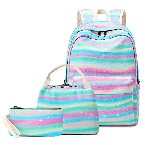 Pawsky School Backpack Set, Canvas Girls Bookbag 15' Laptop Backpack Daypack Kids School Bag with Lunch Bag Pencil Case, Rainbow