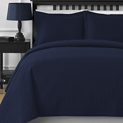 Comfy Bedding Extra Lightweight Frame 3-Piece Bedspread Coverlet Set (King/Cal King, Navy Blue)