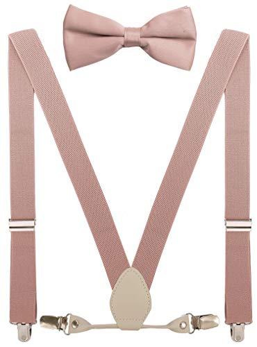 YJDS Herren Jungen Leder Hosenträger und Fliege Set elastisch für Hochzeit - Pink - Erwachsene (119 cm)