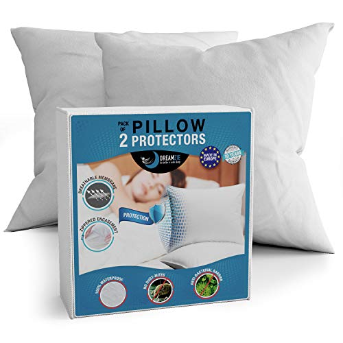 Dreamzie - Lot de 2 Protège Oreiller 60x60 Imperméable - Certifiés Oeko Tex® - Tissu 100% Coton Respirant avec Traitement BiOme: Hypoallergénique, Anti-Acarien et Anti-Bactérien - Fermeture Eclair
