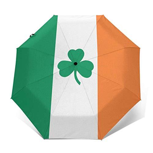 Trushop Automatischer Regenschirm Irish Flag Shamrock Folding Umbrella Travel Fashion Automatic Umbrella