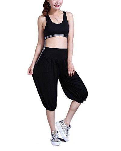 Womens Super Soft Modal Pants 34 Comfy Harem Cropped Shorts Baggy Yoga Capri Trousers Black M