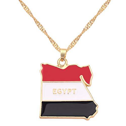 TFOOD Ketting voor dames, Egyptische vlag, kaarthanger, gouden kettingmagie Patriotische etnische sieraden voor moeders mannen cadeau-accessoires