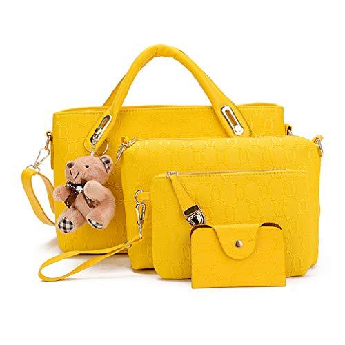 Pahajim Bolsos de Mensajero de las Mujeres de Moda Conjunto de Bolsos de Cuero de la PU cuero 4pcs Bolso de Hombro Bolso de Mano(Amarillo)