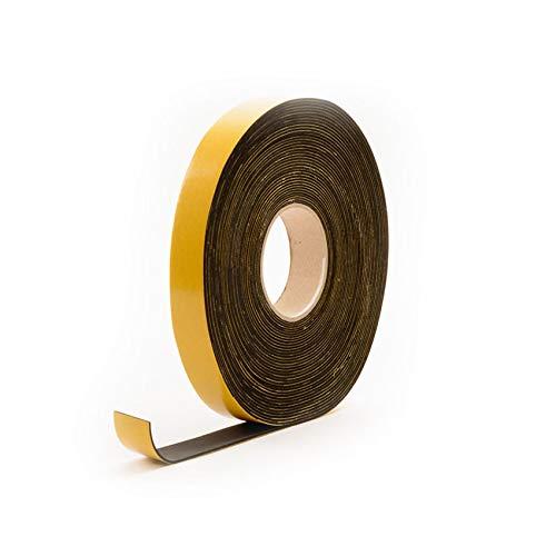 EPDM Zellkautschuk selbstklebend 50x20mm | Schwarz | Zellkautschukbänder | Moosgummi selbstklebend Dichtungsband | Zellkautschuk Rolle (10 Mtr)
