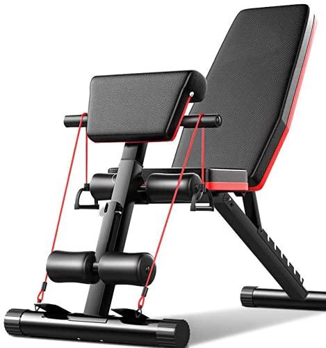 LAZY SPORTS Banco de Pesas para Fitness, Banco de Musculación Multifunción para Entrenamiento de Cuerpo Entero, Respaldo abatible, Banco gimnacio Abdominales (Modelo B).
