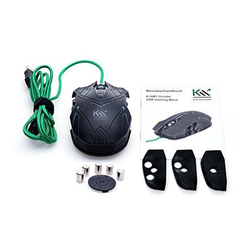 KM-Gaming K-GM1 Grinder optische RGB 5.000dpi Gaming Maus USB [Avago ADNS-3310 Sensor/austauschbare Seitenteile/Gewichtsanpassung/Omron Switches / 9 Tasten/programmierbar]