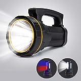Linterna LED más brillante recargable por USB, extremadamente brillante, 6000 lúmenes, linterna de mano grande, 4 pilas de 10.000 mAh, recargable, para camping y emergencias