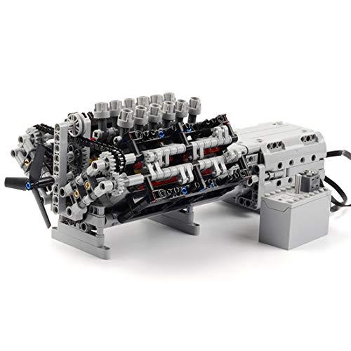 LOSGO Technik V12 Motor, 851 Teile Technik Bausteine mit 2 L Motor Kompatibel mit Lego Technik
