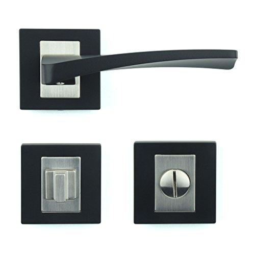 M4TEC ZA3 Türgriff Bad & WC Zinkdruckguss 1. Qualität Schwarz Pulverbeschichtung Robust Langlebig Einfache Installation Elegantes & schickes Design - Ideal für WC-Türen