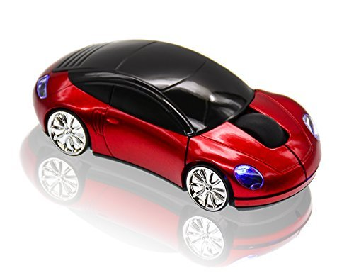 JLER Sport Car Wireless Mouse Optical Mouse Mice Ergonomic Design for PC Laptop (Red)