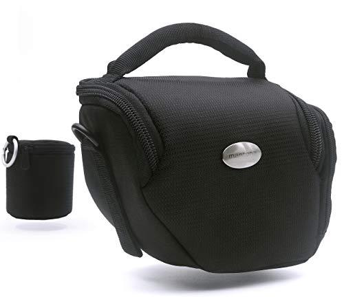MANTONA - VARIO DUO - Bolsa para cámara (sistema compacto, compartimentos separados para los objetivos, asa para hombro), color negro