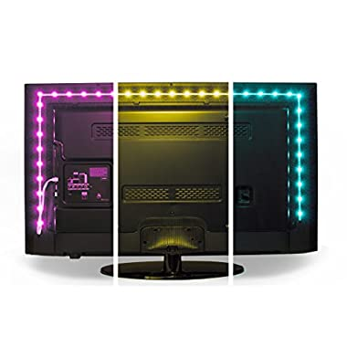 Luminoodle Color Bias Lighting - USB LED TV Backlight with Color, Adhesive RGB Strip Lights with Wireless Remote & Built-in Controller - X-Large (13.1 feet) for 55  to 75  TV