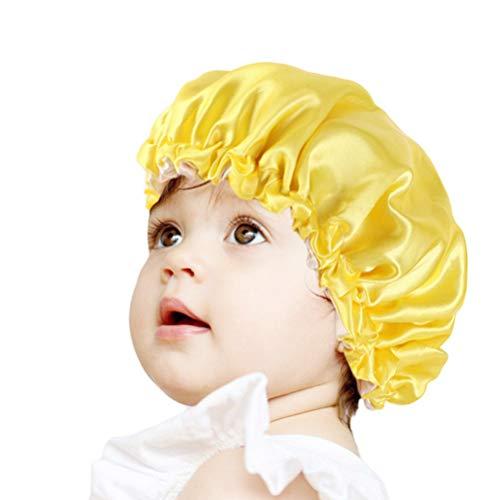 Lurrose Bonnet de Nuit en Satin Bonnet de Nuit Réglable Double Couche de Soie Large Bande de Couchage Couvre-Chef pour Enfants (Jaune)