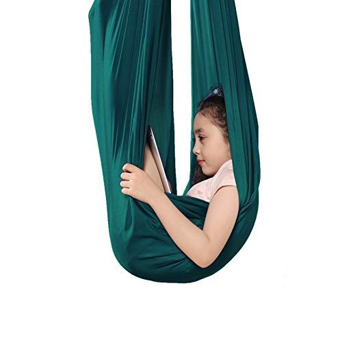 WCX Sensorische Hängematte für den Innenbereich, verstellbar, ideal für Autismus, ADHS und SPD, wirkt beruhigend auf Kinder mit Bedürfnissen, Farbe: Dunkelgrün, Größe: 1,5 x 2,8 m