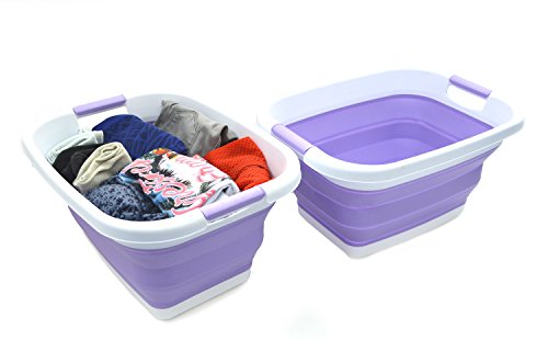 SAMMART Set of 2 Collapsible Laundry BasketTub - Foldable Storage ContainerOrganizer - Portable Washing Bin - Space Saving Hamper - Car Trunk Storage Box 2 Lt Purple