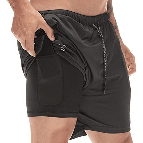 DURINM Pantaloncini Sportivi da Uomo 2 in 1 Estate Shorts Pantaloni con Tasche Jogging Pantaloncini Asciugatura Veloce