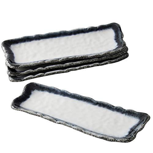 Servierteller Servierplatte Japanischer Essteller Speiseteller Sushi Teller Set Platte Steingut, Set 4 Stück (Naturstein Blauweiss)