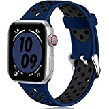 Oielai Correas Compatible con Apple Watch Correa 38mm 40mm 42mm 44mm, Deporte Silicona Suave Reemplazo Banda Correa para iWatch Serie 6, Serie 3 5 4 SE 2 1, 42MM/44MM S/M Azul Profundo/Negro
