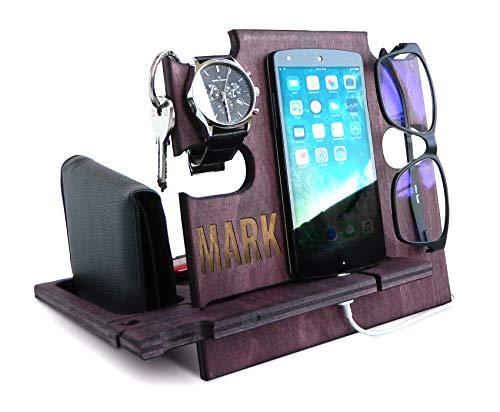 Regalos personalizados para hombres, soporte para teléfono celular, organizador de escritorio de madera, base de teléfono, estación de carga de noche, soporte para teléfono,...