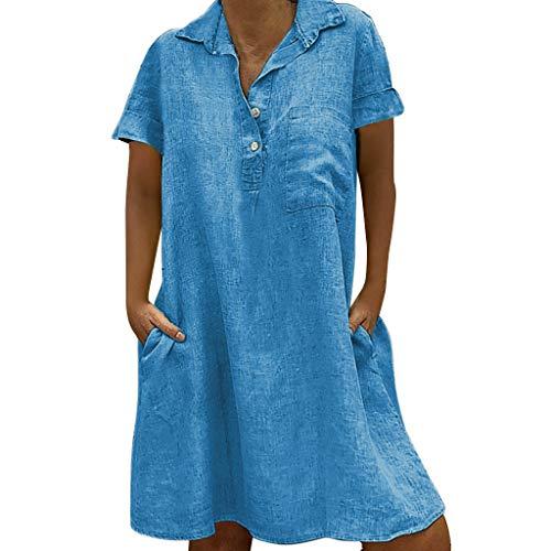 Lulupi Leinen Kleid Frauen Sommerkleider Übergröße T-Shirt Locker Lässig Große Größe Lose Tunika Blusenkleider Damen V-Ausschnitt Kleider Strandkleid Einfarbig Einfach Bequem Freizeit Knielang