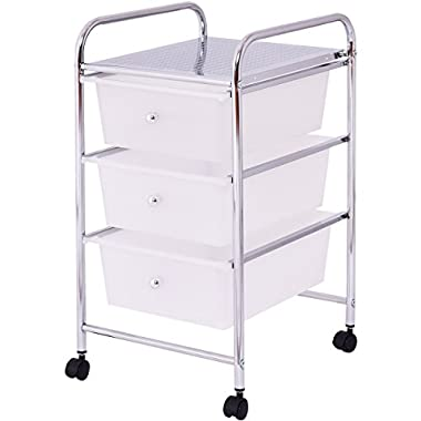 Giantex 3 Drawers Metal Rolling Storage Cart Scrapbook Supply & Paper Home Office White