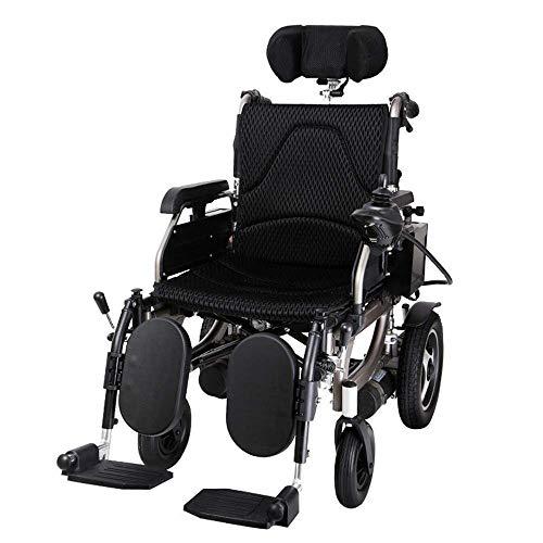 Scooter eléctrico para silla de ruedas resistente con reposacabezas, silla de ruedas eléctrica plegable y ligera weight Ancho del asiento: 45Cm + 360 ° Joystick + Capacidad de peso 120KG)