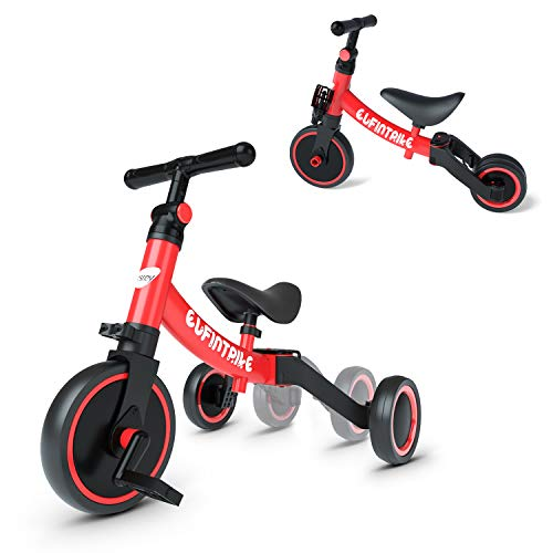 besrey 5 in 1 Toddler Bike for 13 Years Old Kids Toddler Tricycle Kids Trikes Tricycle Ideal for Boys Girls Red