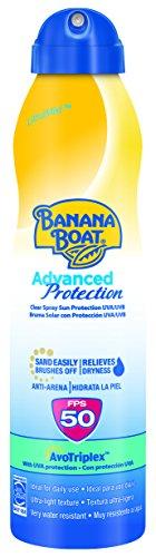 Banana Boat Advanced Protection Bruma - Spray Protector Solar para adultos con protección Muy Alta SPF 50, fórmula fotoestable Avotriplex, Antiarena y resistente al agua, formato Bruma 220 ml