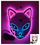 BAYDELKU Double Color Halloween Led Purge Mask Twinkling with Music Speed Mask (Pink- Blue)