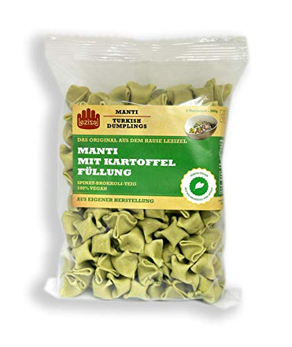 2 Portionen Vegane Lezizel Manti aus Spinat-Brokkoli-Teig 360 Gramm, Maultaschen, Frische Teigware, Dumplings, Convenience, Frische Nudeln