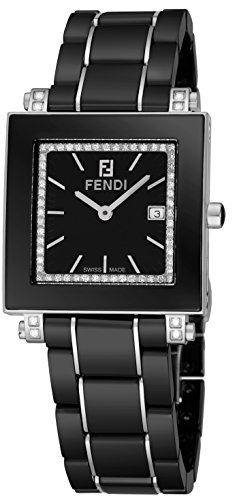 Fendi Womens Ceramic Diamond Watch - Square Classic Black Face Ladies Dress Watch with Date and Sapphire Crystal - Black Ceramic Band Swiss Made Luxury Fashion Watch for Women F621110DDC