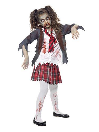 Smiffys-43025L Halloween Disfraz de Colegiala Zombi, con Falda de Cuadros Escoceses, Blazer, Falsa, Color Gris, L-Edad 10-12 años (Smiffy