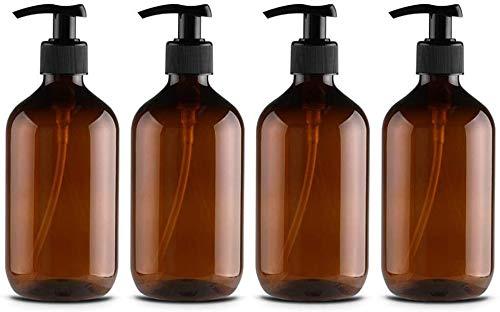 ZKHONG Shampoo Flaschen Seifenspender, Nachfüllbare Pumpflasche 500 ml, Brown&Amber Pumpspender für Bad oder Küche - Handwäsche, Lotionen, Shampoo, Conditioner, Duschgel
