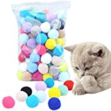LABAICAI 70 PCS Cat Toys Stretch Plush Cat Toy Balls Multi-Colored Interactive Pom-pom Cat Chew Toy