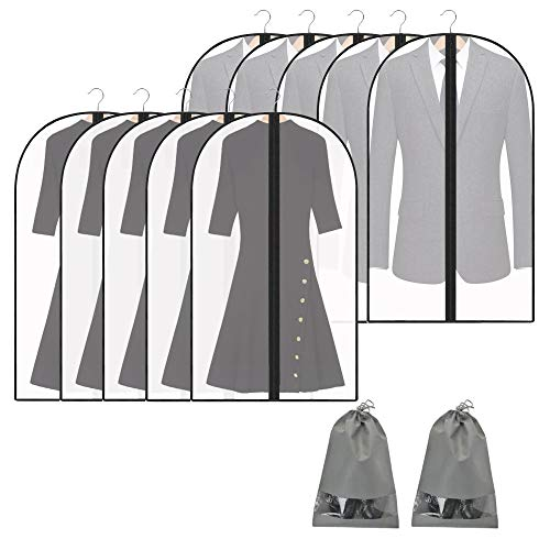BeyJoy MandWot 10/8 Pack+2 Garment Bags Dust Cover for Closet Clothes Storage Black Edge Zipper Hanging Lightweight Clear Full Garment Bag Suit Bags PEVA Moth-Proof Breathable (24'' x 40'' 10 Pack)