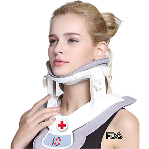 Cervical Neck Traction Device - Neck Massager & Collar & Brace - Neck & Shoulder Pain Relief - Stretcher Collar for Travel/Home Improved Spine Alignment(White/Grey)