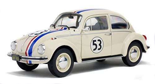 Solido- Aucun Volkswagen Beetle 1303 Herbie-1974-Echelle 1/18, 421184040, Beige, 22 X 8,5 X 11