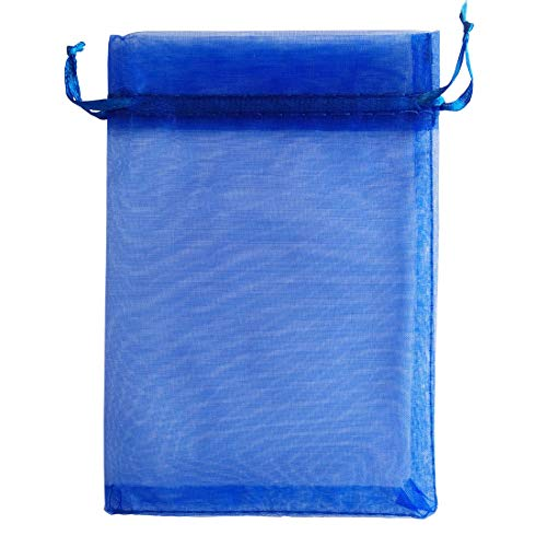 Pimuza Pack of 50 5x7 inch Gift Wrap Bags Royal Blue, Organza Sheer Fabric Sturdy Material, Drawstring Organizer for Baby Shower Favor, Celebration, Church, Rose Petals, Cosmetic, Ring, Earring, Watch