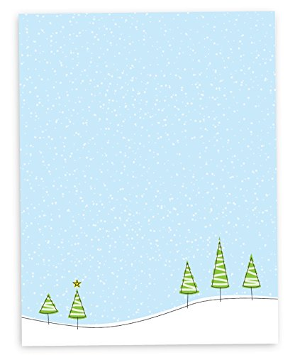 Christmas Tree on the Hillside Holiday Printer Paper - 40 Sheets of Premium Christmas Stationary - Made in the USA