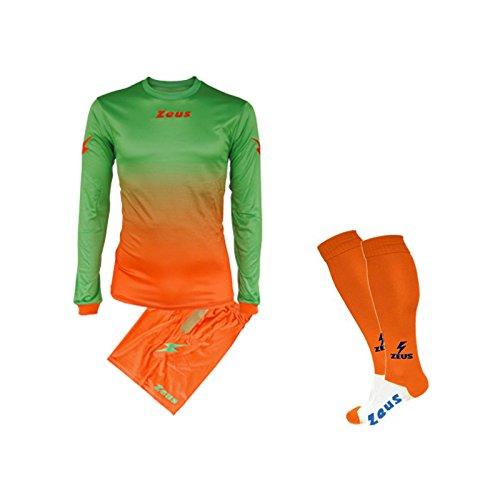 Zeus Fußball-Set Eros, inklusive Socken, Fußballtraining, Orange-Neongrün, XL)