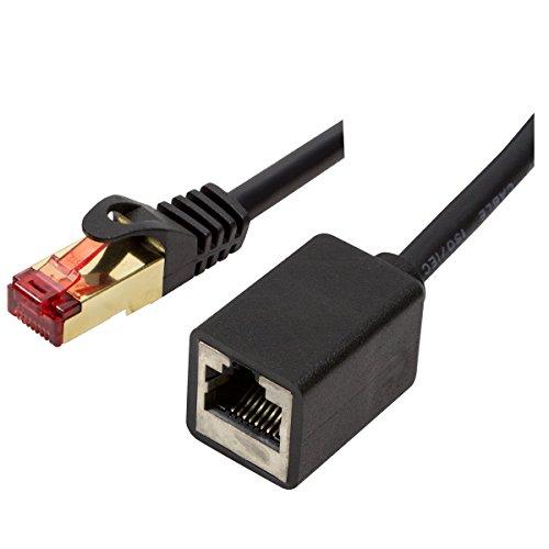 BIGtec Premium 3m CAT.5e Verlängerung Ethernet LAN Patchkabel Gigabit Netzwerkkabel Patch Kabel schwarz geschirmt vergoldet (RJ45, Cat 5e, FTP, 1000 Mbit/s) 1 x RJ45 Stecker - 1 x RJ45 Kupplung
