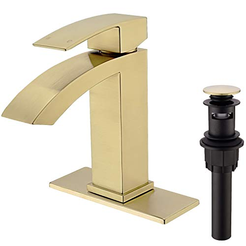 TRUSTMI Brass Waterfall Commercial Bathroom Sink Faucet Single Handle Basin Mixer Tap with Deck Plate,Pop Up Drain Strainer,Brushed Gold