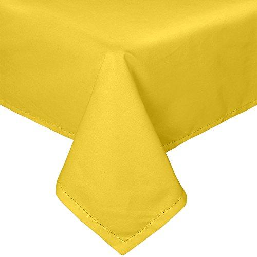Homescapes Runde Tischdecke gelb unifarben 180 cm aus 100% reiner Baumwolle, Tischtuch waschbar