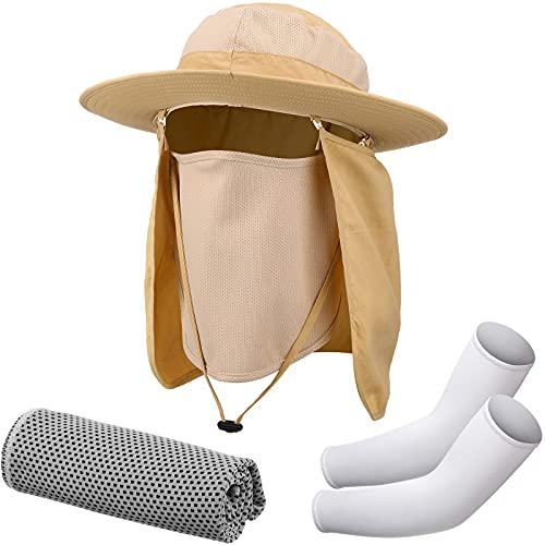 Sombrero de pesca unisex de ala ancha con manga de brazo, toalla de hielo, talla única , Caqui Blanco Gris