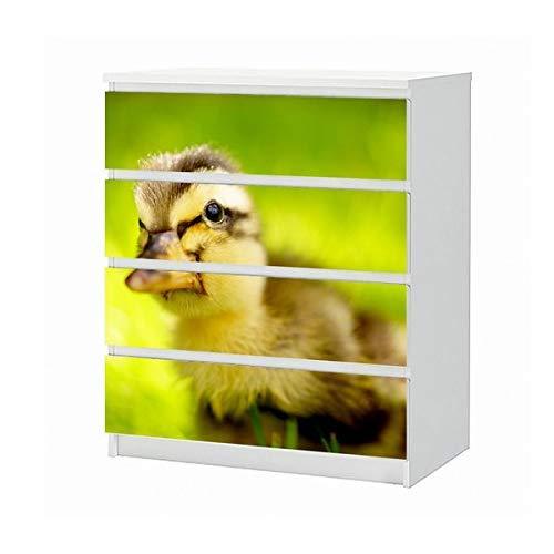 Set Möbelaufkleber für Ikea Kommode MALM 4 Fächer/Schubladen Ente Kücken gelb Baby Tier süß Gans Vogel Aufkleber Möbelfolie sticker (Ohne Möbel) Folie 25B1201