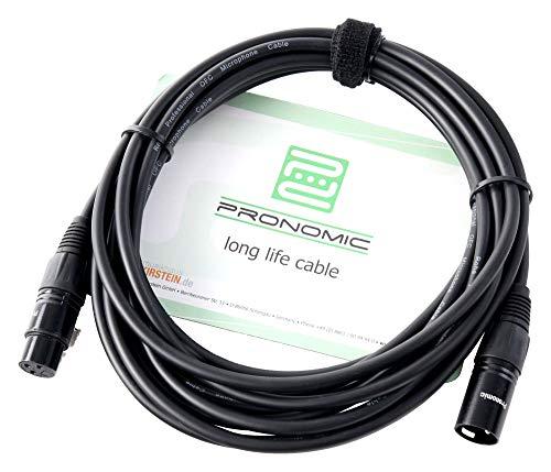 Pronomic XFXM-5 Mikrofonkabel (5m Länge, XLR female 3-pol -> XLR male 3-pol, Stecker handgelötet, säure- und ölfest, Spannzangen-Zugentlastung) schwarz