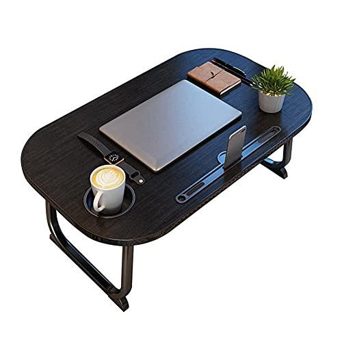 HYYYH Mesa de Cama para portátil Escritorio de Regazo Plegable para Ver películas en la Cama, desayunar, sofá, Piso (Color : Black, Size : 70 * 39cm)