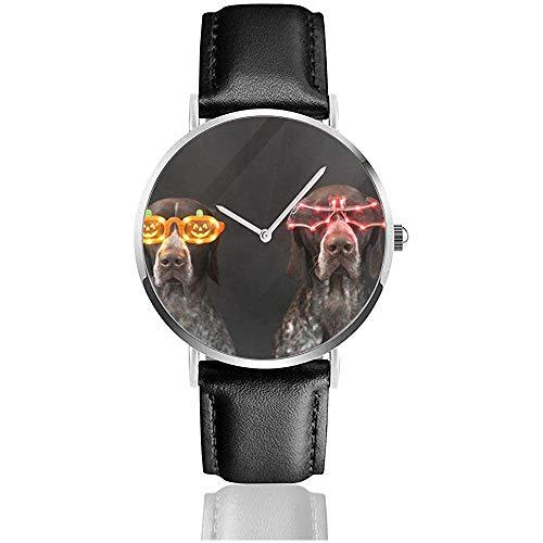 Hunde tragen Halloween Brille Frauen Männer PU Lederarmband Armbanduhren für Frauen Schwarz